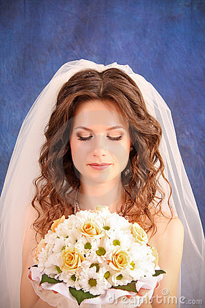 Girl with  wedding bouquet