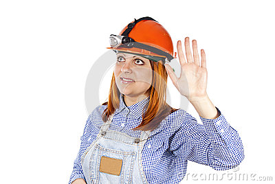 Girl welcomes the builder of hard hat