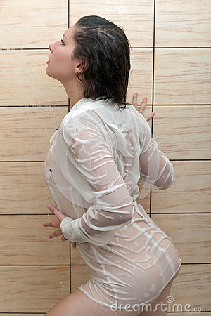 Girl in a wet blouse