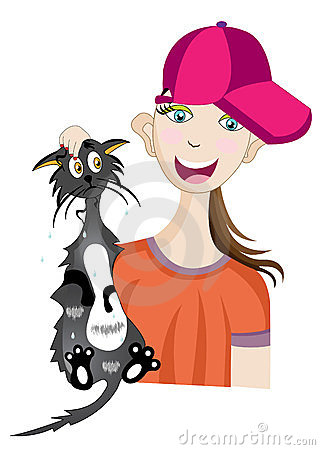 Girl with wet cat