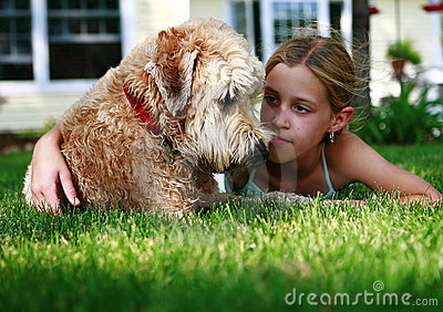 Girl and wheaton terrier