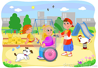 Girl on wheelchair with friends