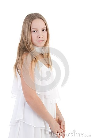 The girl in a white dress