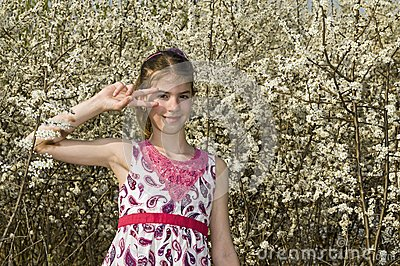 Girl with white flowers dance style
