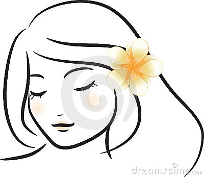 Girl with white frangipani flower
