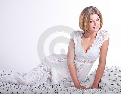 Girl on white fur