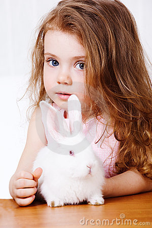 Girl and white rabbit
