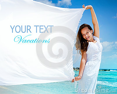 Girl With White Scarf. Text