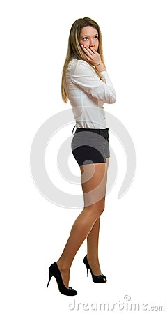 Girl in a white shirt and black shorts