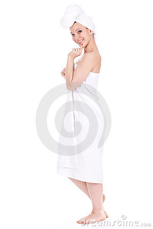 Girl in white towel