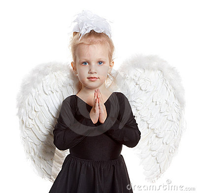Girl with white wings in a black dress