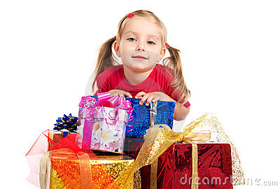 Girl wih the presents
