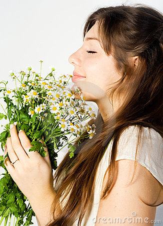 Girl and wildflowers