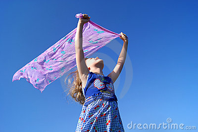 The girl on a wind