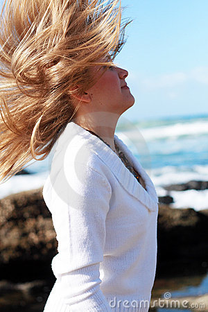 Girl, wind, hair