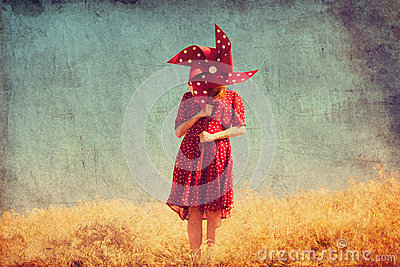 Girl with wind turbine