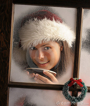 Girl in Window with Mug