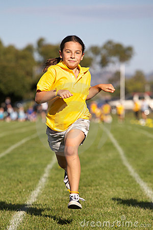 Girl winning sports race
