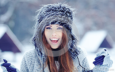 Girl on the winter background