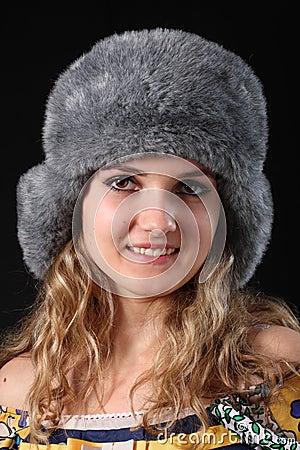 GIRL IN WINTER FUR-CAP