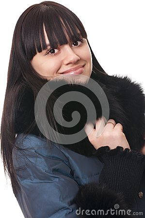 Girl in winter jacket