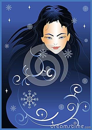 Girl winter night