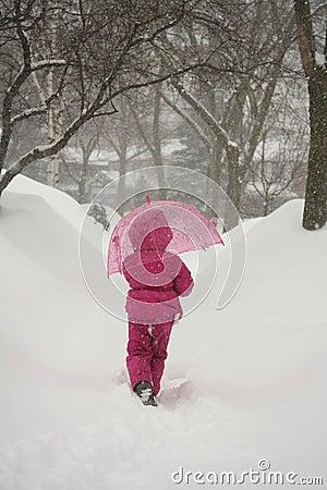 Girl In Winter Storm
