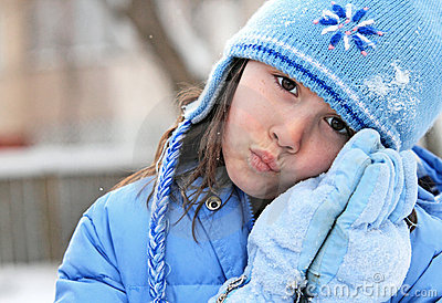 Girl in wintry clothing