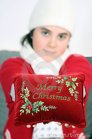 Girl wishing merry Christmas