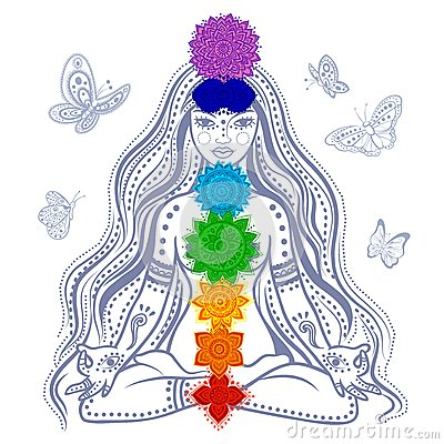 Free Girl With 7 Chakras Stock Photography - 38413282