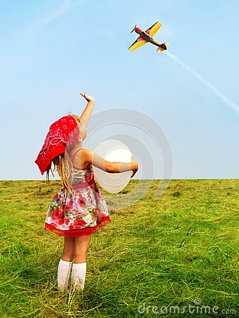 Free Girl With A Balloon Waving A Hand Flying Aircraft. Royalty Free Stock Images - 113735309