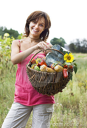 Free Girl With A Basket Royalty Free Stock Image - 6449976