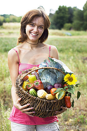 Free Girl With A Basket Stock Photos - 6450293