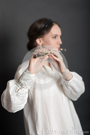 Free Girl With A Flute Royalty Free Stock Photography - 31059247