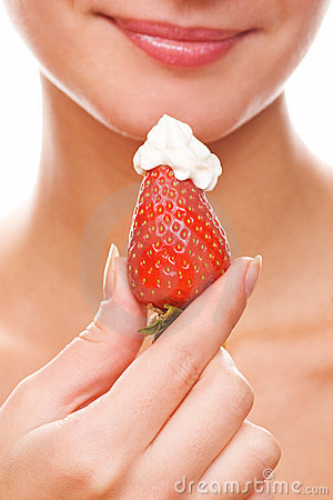 Free Girl With A Fresh Juicy Strawberry Stock Image - 2048761