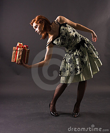 Free Girl With A Gift Stock Photos - 12963833