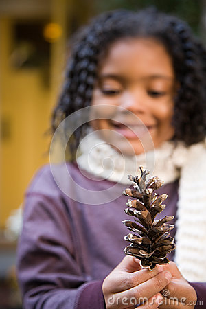 Free Girl With A Pine Cone Royalty Free Stock Images - 36095309