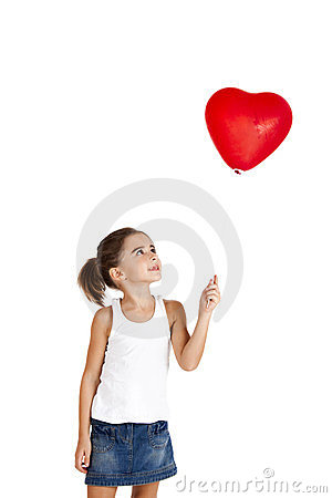 Free Girl With A Red Balloon Royalty Free Stock Photo - 23563185