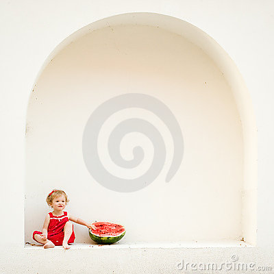 Free Girl With A Watermelon Royalty Free Stock Photos - 11525068