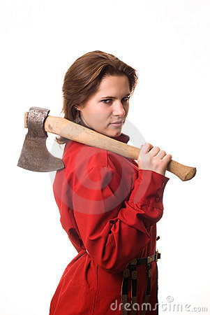 Free Girl With An Ax On Her Shoulder Stock Image - 12576361