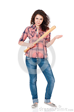 Free Girl With Baseball Bat Stock Images - 40380394