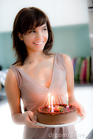 Free Girl With Birthday Cake Stock Images - 6708624