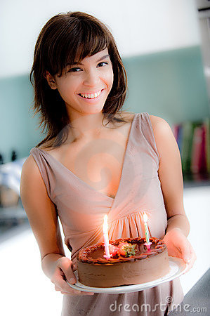 Free Girl With Birthday Cake Royalty Free Stock Photography - 6769657