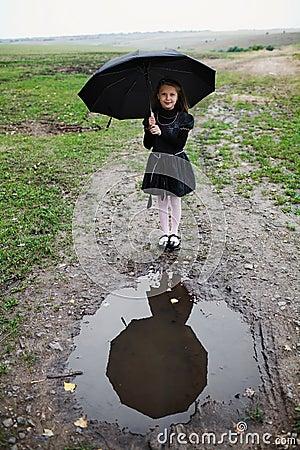 Free Girl With Black Umbrella Royalty Free Stock Photos - 15926458