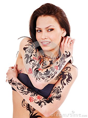 Free Girl With Body Art. Royalty Free Stock Photo - 28696195
