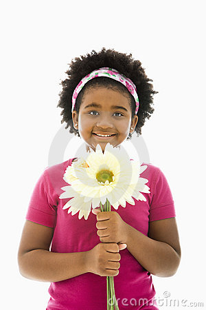 Free Girl With Bouquet. Stock Photography - 3423152