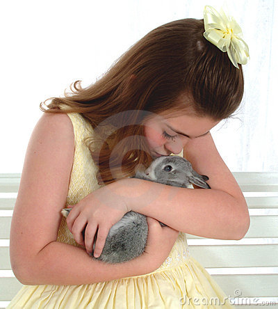 Free Girl With Bunny Stock Image - 4716351