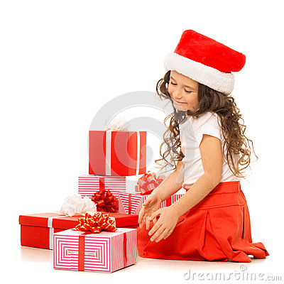 Free Girl With Christmas Gift Boxes. Isolated On White Stock Photography - 47547802