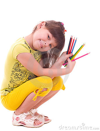 Free Girl With Color Pencils Stock Images - 23039584