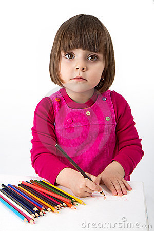 Free Girl With Colored Pencils Stock Image - 15301471